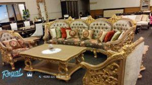 Set Sofa Tamu Mewah Golden Sun Model Kursi Tamu Ukiran Mewah Terbaru