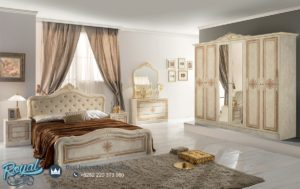 Set Kamar Tidur Mewah Luisa Beige Classic White Bedroom Set Terbaru