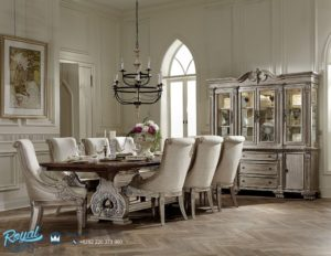 Set Kursi Meja Makan Mewah Windsor White Furniture Dining Room Terbaru
