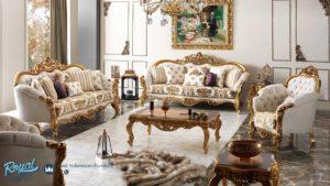 Set Kursi Tamu Sofa Mewah Klasik Gold Flece Ukiran Jepara Terbaru