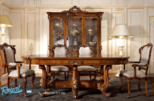 Set Meja Makan Mewah Jati Klasik Furniture Ukiran Terbaru