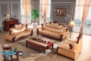 Set Sofa Tamu Mewah European Leather Jati Terbaru