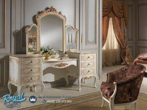 Meja Rias Mewah Vanity White Duco Classic Ukir Terbaru