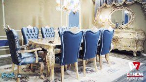 Set Meja Makan Mewah Maxres Biru Model Dining Room Mewah Terbaru