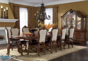 Set Meja Makan Mewah Rectangular Dining Room Set Furniture Classic Terbaru