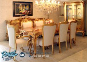 Set Meja Makan Mewah Takimi Gold Klasik Furniture Terbaru