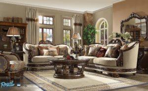 Set Sofa Tamu Mewah Germain Wood Living Room Set Terbaru