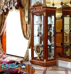 Lemari Kaca Hias Jati Mewah Classic Wooden Terbaru