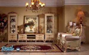 Set Bufet TV Almari Kaca Mewah Italian Set Livingroom Terbaru