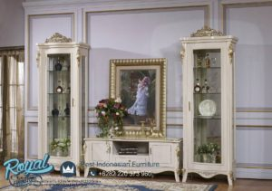 Set Bufet TV Mewah Lemari Hias Kaca Set Terbaru