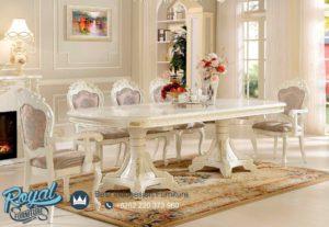 Set Meja Makan Mewah Klasik Desain Duco Putih Terbaru