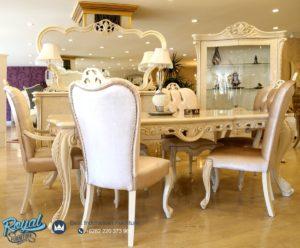 Set Meja Makan Mewah Passero White Duco Klasik Ukiran Terbaru