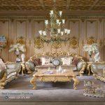 Set Sofa Tamu Mewah Velancia Gold Ukiran Jepara Terbaru