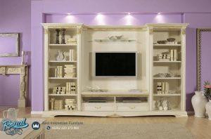 Set Bufet TV Mewah Vivadi Klasik Duco Putih Set Terbaru
