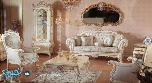 Set Kursi Tamu Sofa Mewah Sahila Ukiran Klasik Jepara Terbaru