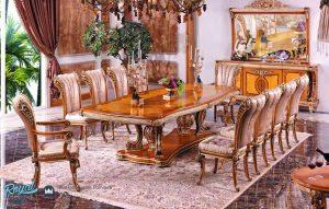 Set Meja Makan Mewah Alina Big Set Furniture Ruang Makan Terbaru