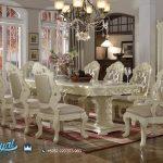 Set Meja Makan Mewah Duco Putih Ukiran Jepara Terbaru