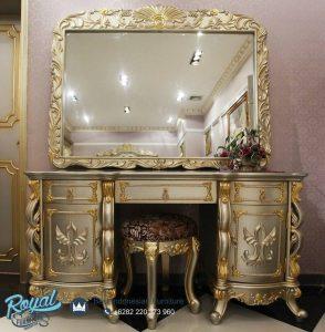Set Meja Rias Mewah Golden Ukiran Klasik Jepara Terbaru
