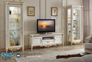 Set Bufet TV Almari Hias Scappini Duco Putih Mewah Terbaru