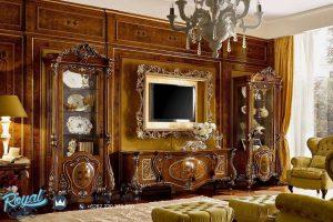 Set Bufet Tv Mewah Herlic Jati Klasik Ukiran Terbaru