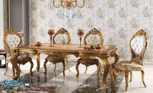 Set Meja Makan Mewah Gold Duco Ukiran Jepara Terbaru