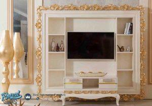 Bufet TV Set Rak Hias Luks Duco Putih Mewah Terbaru