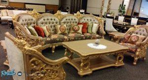 Kursi Tamu Sofa Ukiran Set Mewah Finishing Gold Terbaru