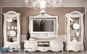 Set Bufet TV Almari Hias Mewah White Duco Desain Furniture Terbaru