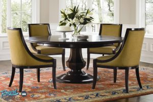 Set Furniture Ruang Makan Mewah Fabric Classic Style Model Terbaru