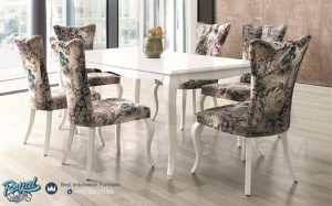 Set Kursi Meja Makan Mewah Hermes Odasi Duco Putih Terbaru