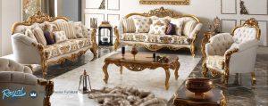 Set Kursi Tamu Sofa Mewah Finishing Gold Ukiran Terbaru