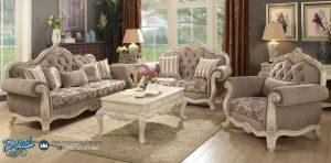 Set Sofa Tamu Mewah Fabric Antiq Ukiran Mewah Terbaru