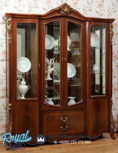 Lemari Hias Mewah Kayu Jati Klasik Furniture Jepara