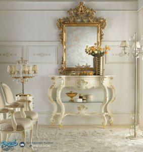 Meja Console dan cermin Napoleon Duco Putih Terbaru