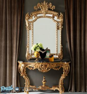 Ornate Gold Rococo Console Table Ukiran Mewah