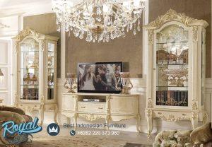 Set Bufet TV Lemari Hias Kaca Mewah Europe Style Terbaru