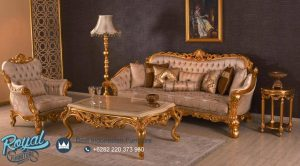 Set Sofa Tamu Mewah Gold Finishing Ukiran Jepara Terbaru