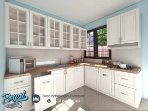 Design Kitchen Set Klasik Putih Duco Model Terbaru