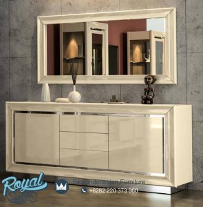 Meja Console Ivory High Gloss Minimalis Model Terbaru