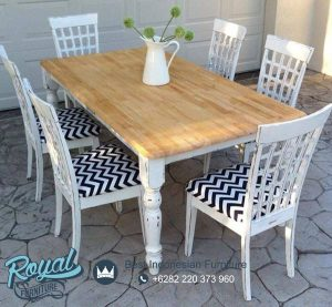 Set Furniture Meja Makan Modern Shabby Chic Model Terbaru