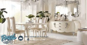 Set Meja Makan Mewah Klasik Elegan White Duco Terbaru