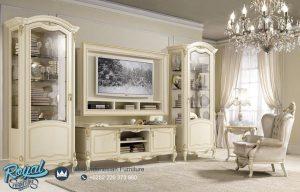 Contoh Set Bufet TV Mewah Warna Putih Modern Terbaru