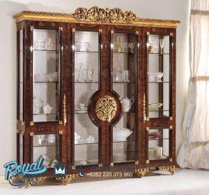 Gambar Lemari Hias Kaca Grand Royal Jati Mewah Terbaru