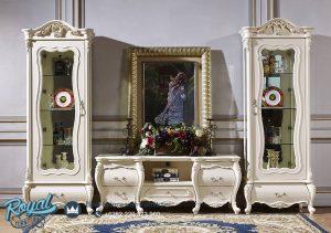 Set Bufet TV Mewah Eropa Klasik Duco Putih Terbaru