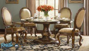 Jual Formal Round Kursi Meja Makan Set Klasik Design Terbaru