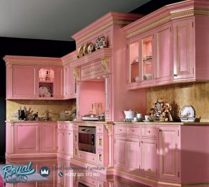 Model Kitchen Set Mewah Klasik Model Terbaru Cat Merah Muda