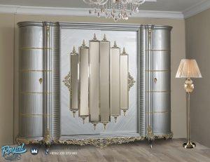 Almari Pakaian Model Denia Eropa Klasik Mewah Silver Duco Terbaru