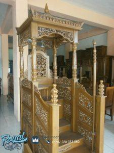 Mimbar Masjid Kayu Jati Ukiran Jepara Terbaru