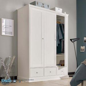Wardrobe Lemari Pakaian Minimalis Putih Duco 3 Pintu