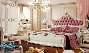 Model Tempat Tidur Mewah Modern Cover Pink Ukiran Jepara Terbaru